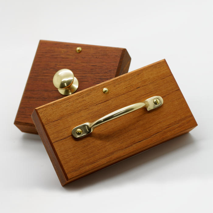 Jarrah Wood Shopping Bag Stamps with Brass Handles